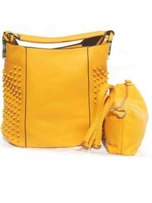 Classic riveted bucket shoulder bag – Yellow