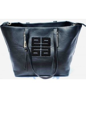 Bat Wing Tote Leather Handbag-Black