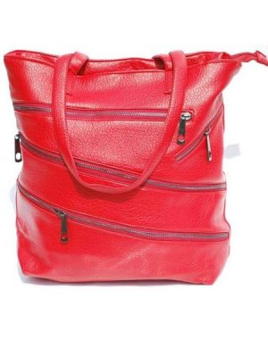 Tote Shoulder Leather Bag –  Red