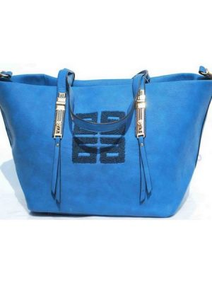 Bat Wing Tote Leather HandBag – Blue