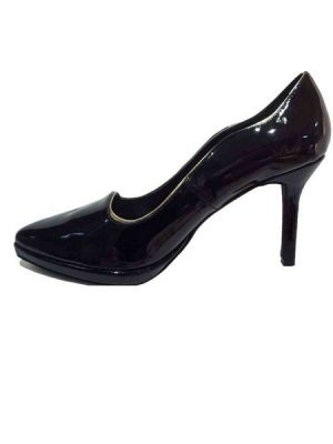 Black Wavy Patent Pumps
