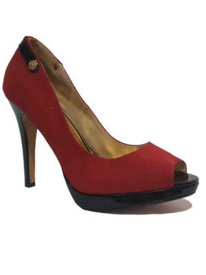 Peep toe Suede Shoe – Red