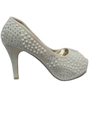 Beaded Open Toe Pumps – Silver