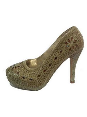 Classic Beaded Pumps – Gold