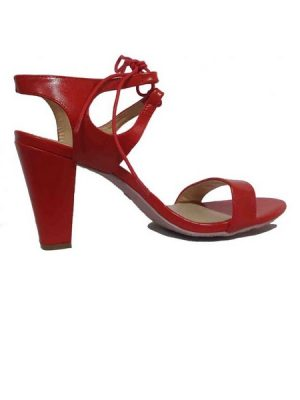 Cut-Out  Ankle Strap  Sandals- Red