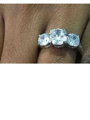 Cubic zirconia engagement Ring  – Silver
