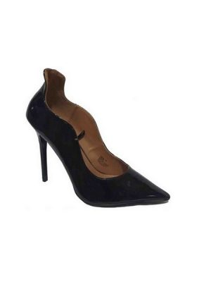 Pointed Curved Side Court Shoe – Black