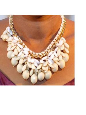 Water Drop Costume Necklace – White