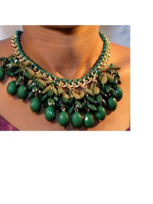 Water Drop Costume Necklace – Green