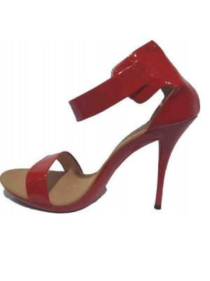 Patent Ankle Cuff Sandal – Red
