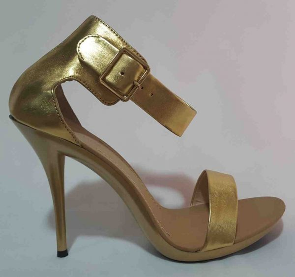 Shiny Ankle Cuff Sandal - Gold