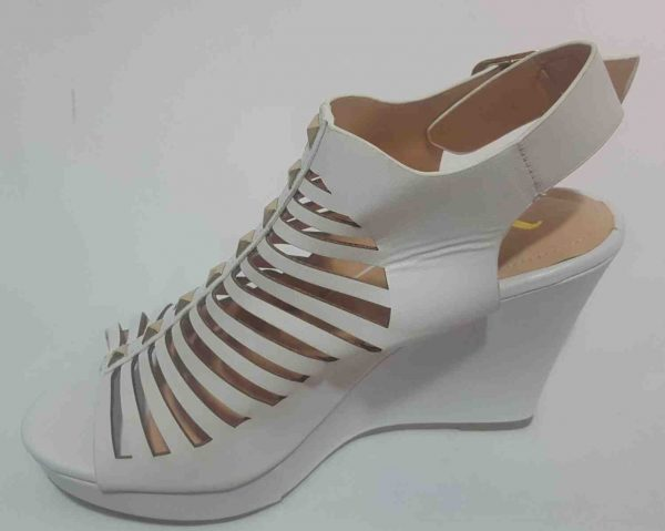 Cut Out Platform Wedge - White