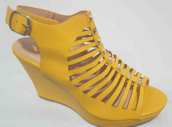 Cut Out Platform Wedge - Yellow