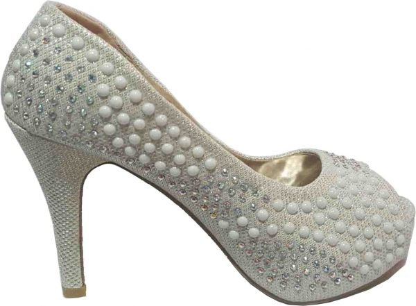 Beaded Open Toe Pumps - Silver