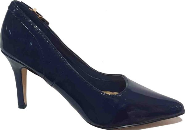 MODA in pelle Navy Blue Patent Court Shoe