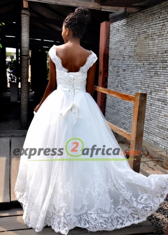 Elegant Tulle lace bridal gown - White