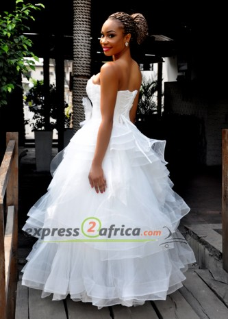 Layered Sweetheart Bridal Gown - White