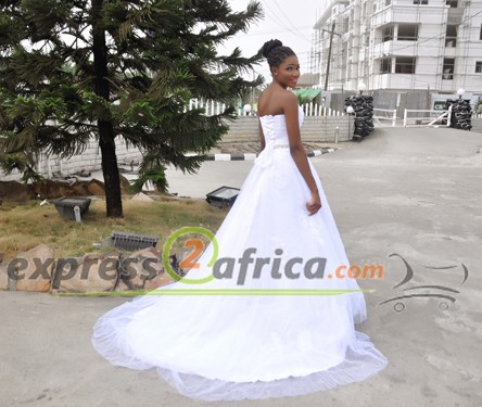 Sleeveless Off Shoulder Bridal Gown-White