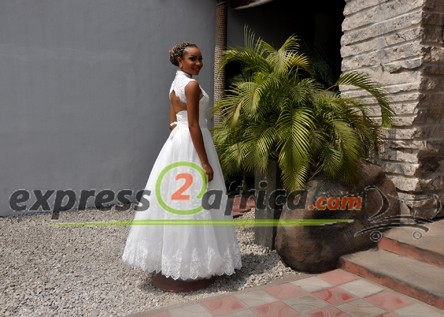 A-line High Neck Bridal Gown