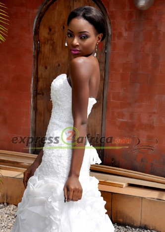 Luxury off Shoulder  Ruffled Bridal Gown - White
