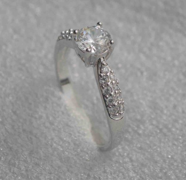 Silver Plated Crystal Cubic Zirconia Engagement Ring