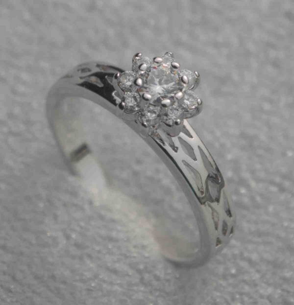Cubic Zirconia Solitaire Engagement Ring - Silver